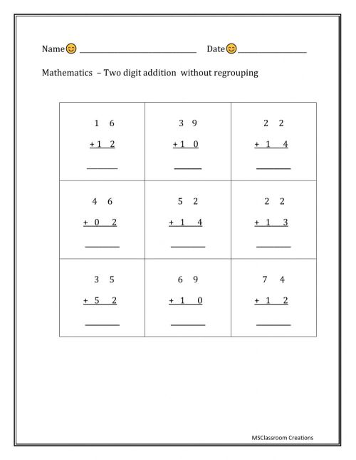 small resolution of Two digit addition - without regrouping worksheet