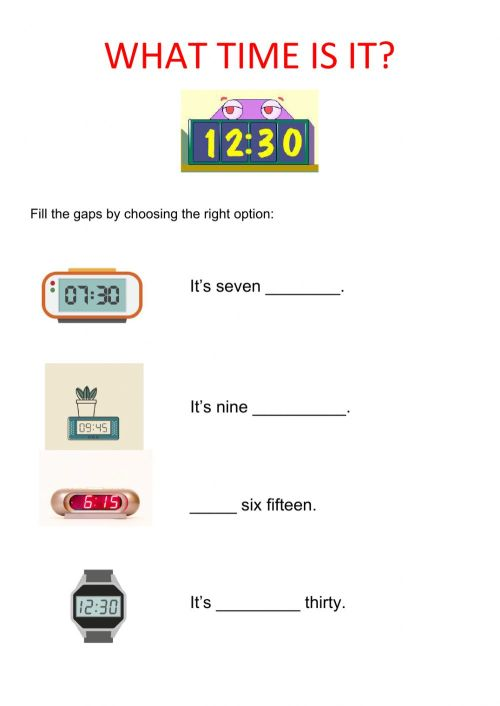 small resolution of Digital time interactive worksheet