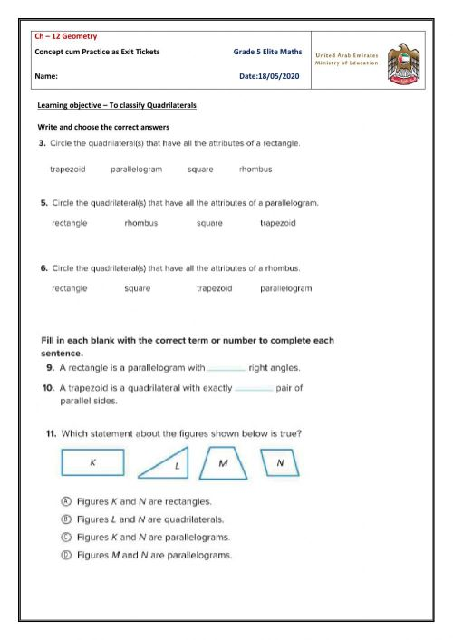 small resolution of Classifying Quadrilaterals worksheet