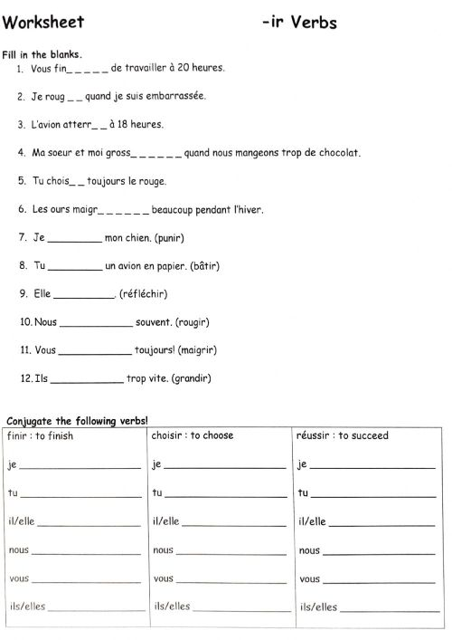 small resolution of Ir Verbs - writing out worksheet