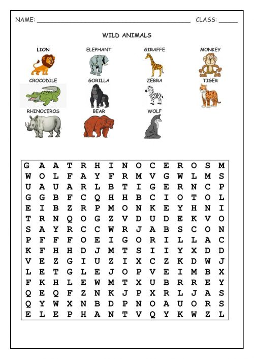 small resolution of Wild animals online exercise for Grade 4