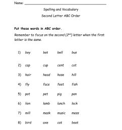 ABC Order 2nd Letter worksheet [ 1291 x 1000 Pixel ]