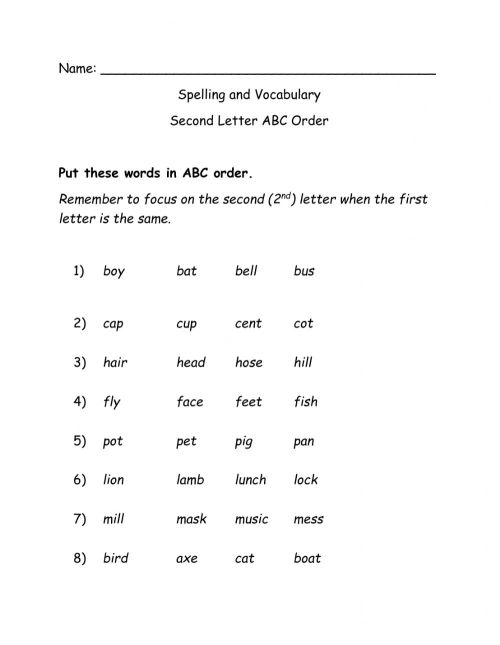 small resolution of ABC Order 2nd Letter worksheet