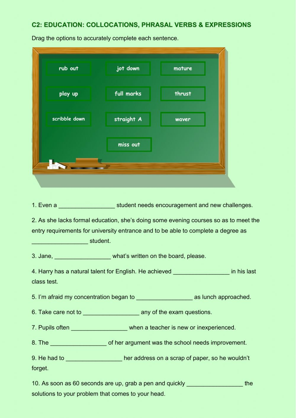 hight resolution of C2 education collocations phrasal verbs and expressions worksheet