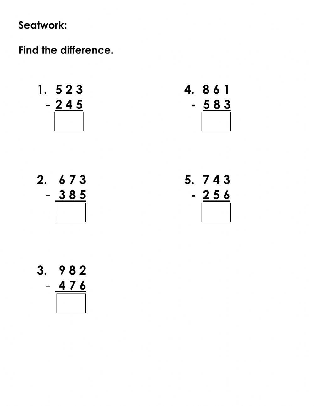 hight resolution of Subtraction with regrouping interactive worksheet