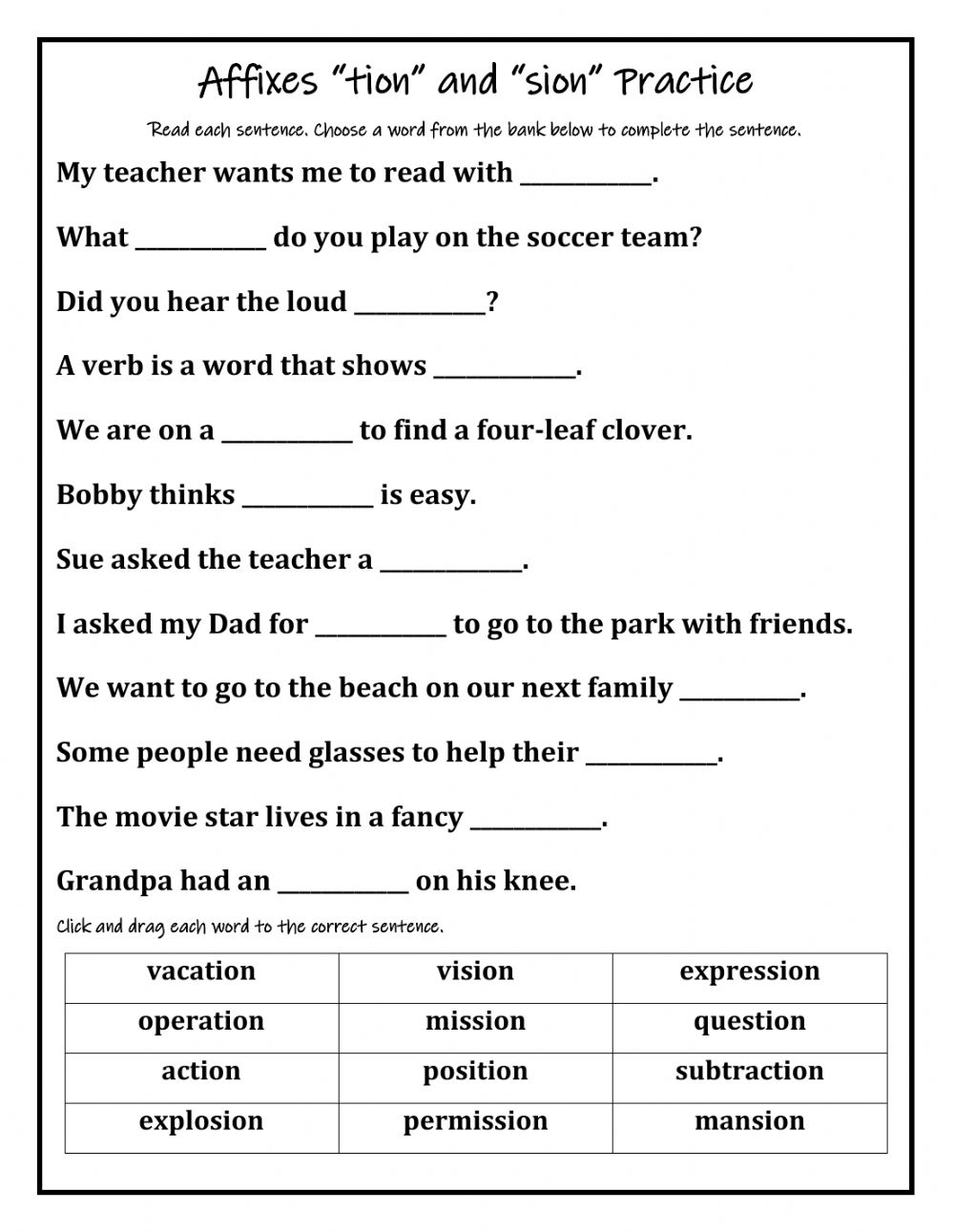 hight resolution of Affixes tion-sion worksheet