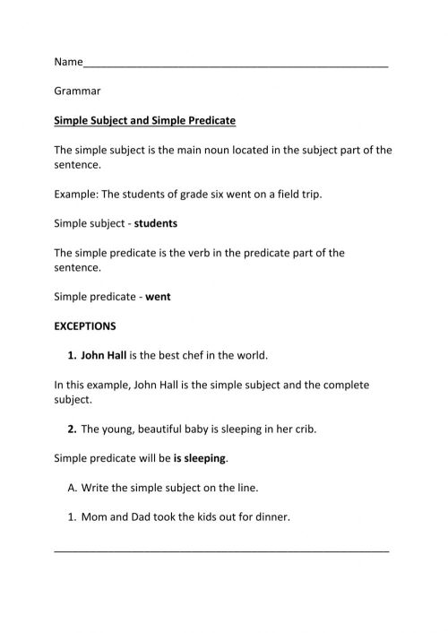 small resolution of Simple Subject and Simple Predicate worksheet
