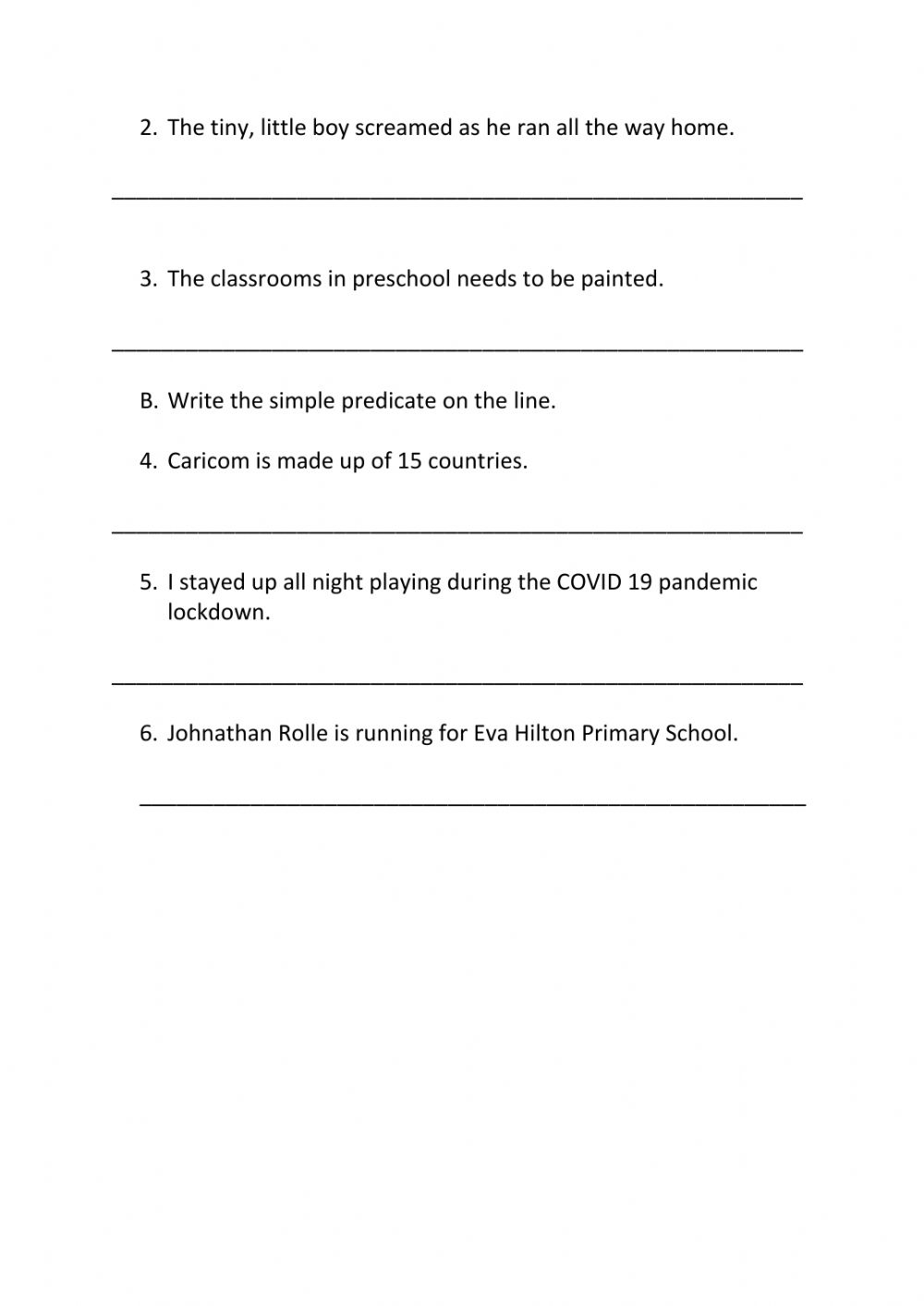 hight resolution of Simple Subject and Simple Predicate worksheet