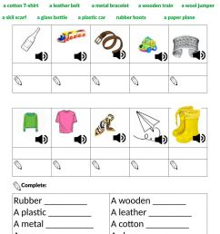 Objects and materials 2 worksheet [ 1413 x 1000 Pixel ]