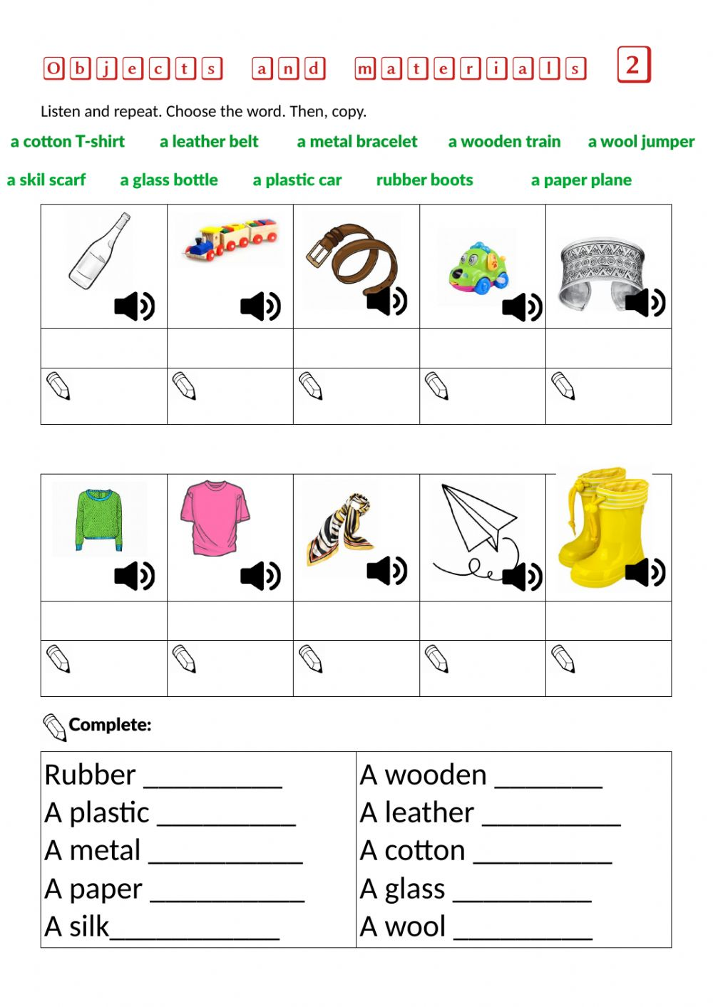 medium resolution of Objects and materials 2 worksheet