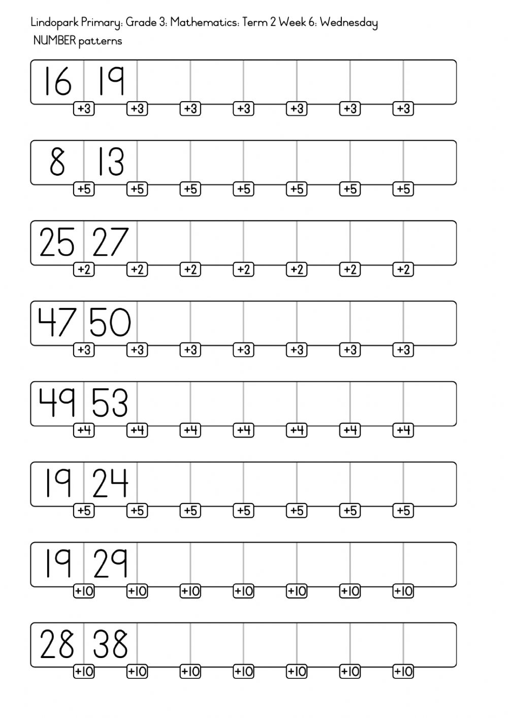 medium resolution of Grade 3 Mathematics: Term 2 Week 6: Number patterns: Wednesday worksheet