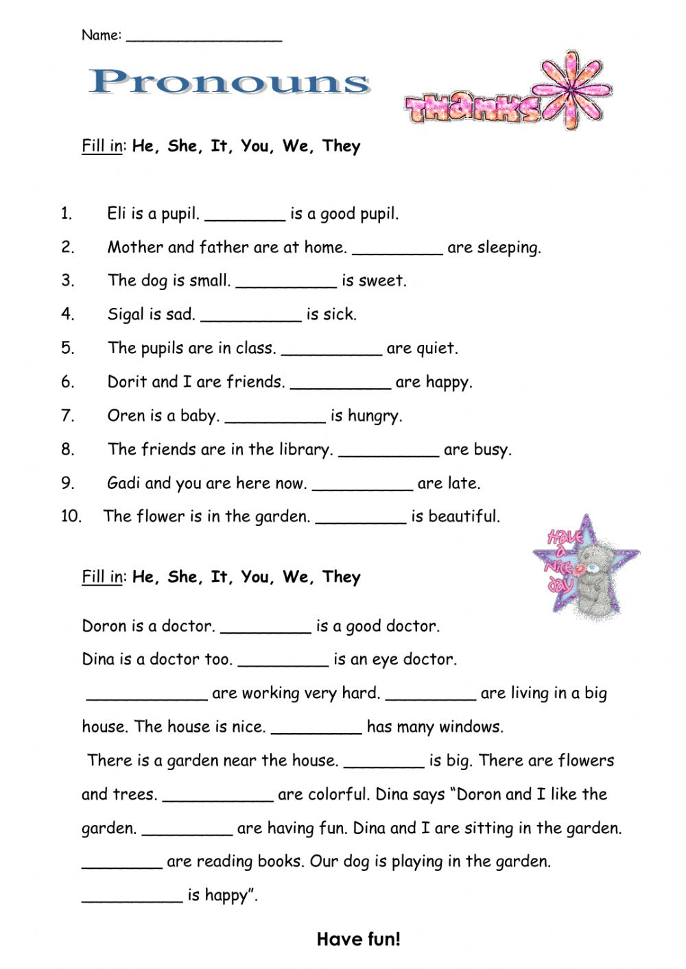 hight resolution of Pronouns activity for 5th grade