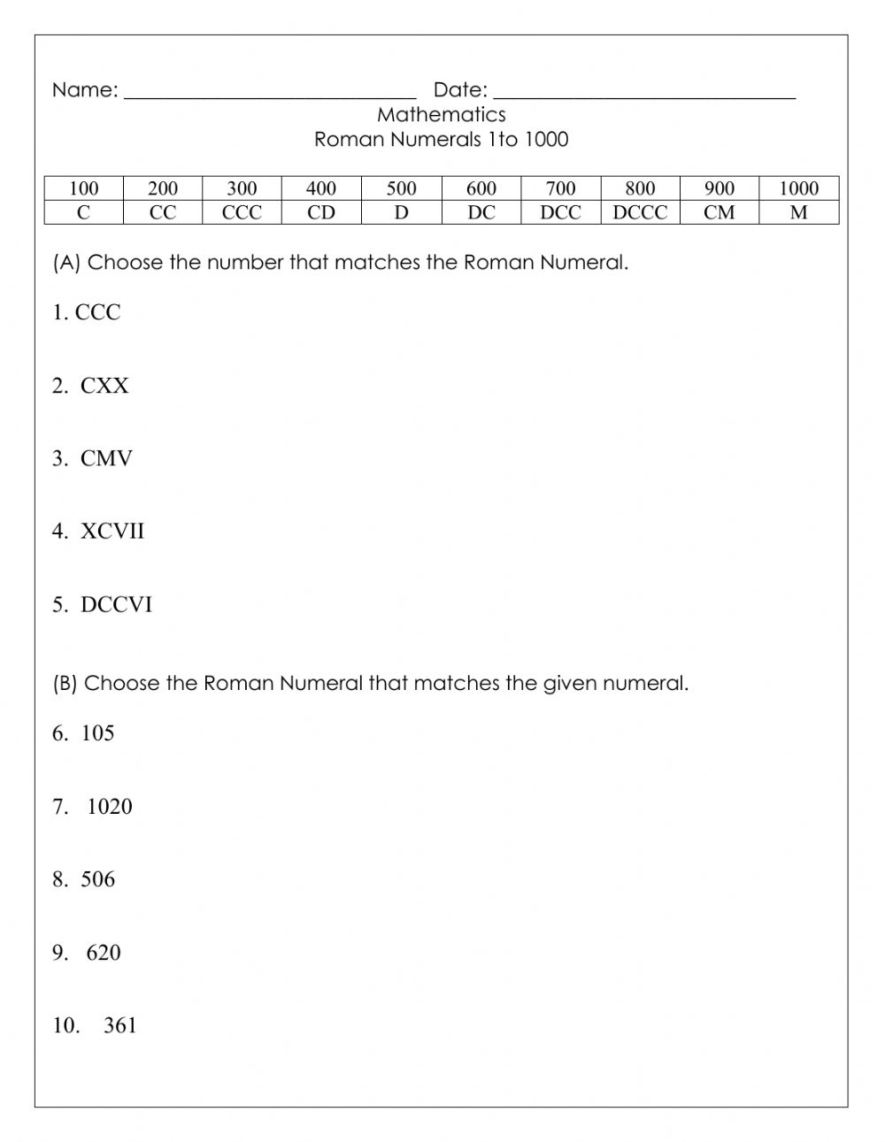 hight resolution of Roman Numerals to 1000 worksheet