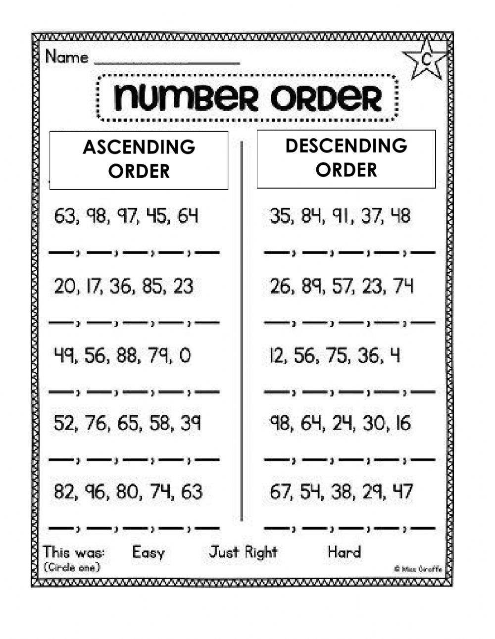 hight resolution of Ordering Numbers online activity