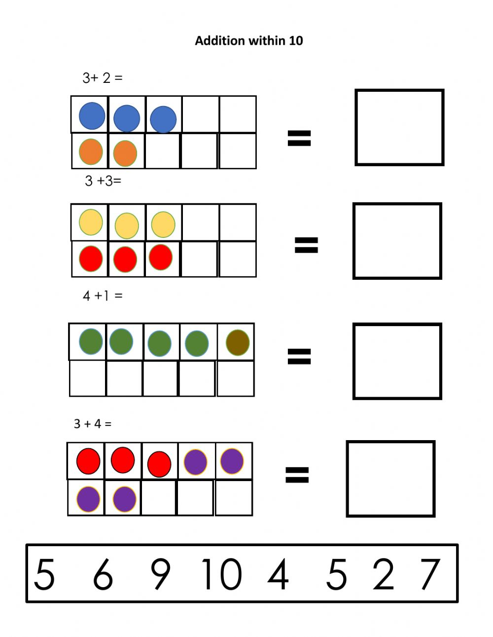 hight resolution of Addition online activity for first grade