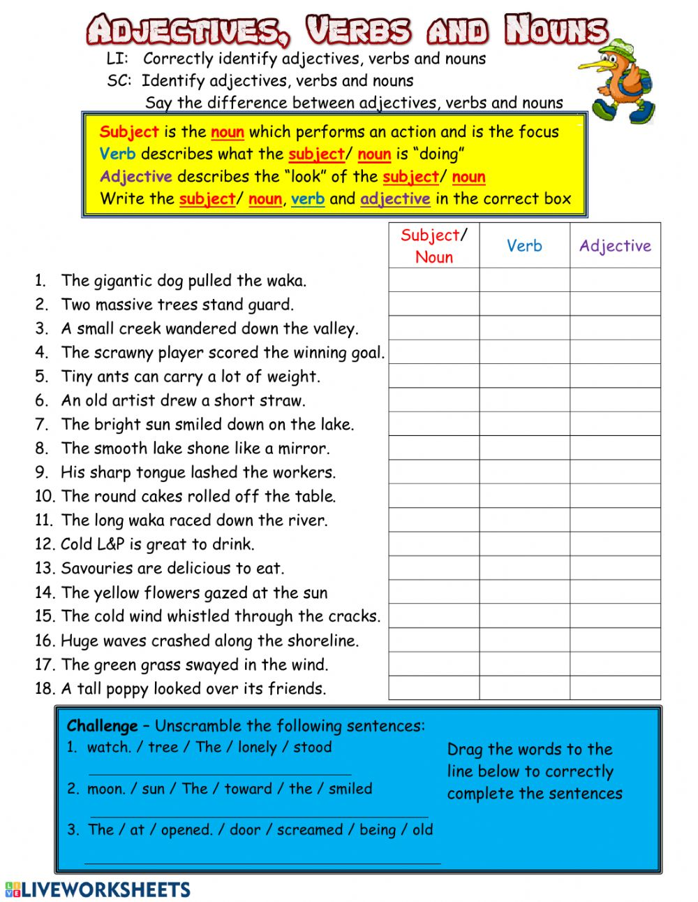 medium resolution of Adjectives Verbs and Nouns worksheet