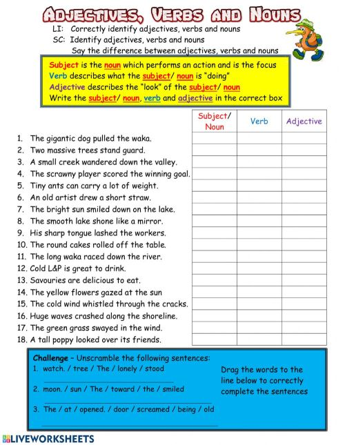 small resolution of Adjectives Verbs and Nouns worksheet