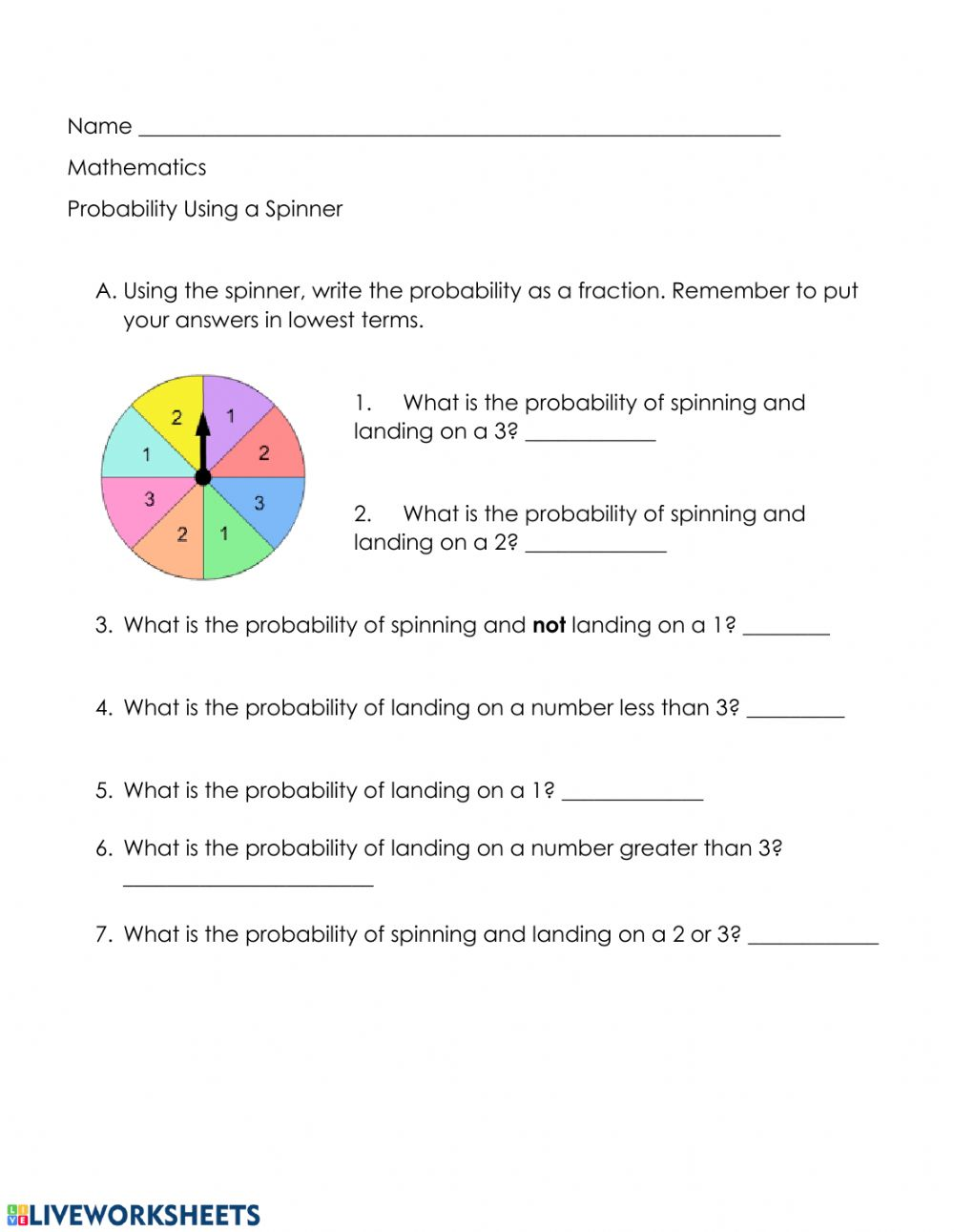 hight resolution of Probability as a Fraction interactive worksheet