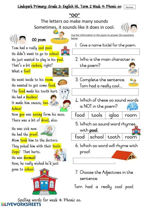 small resolution of Grade 3 HL English Term 2 Week 4 Phonic oo Worksheet 1 Monday worksheet