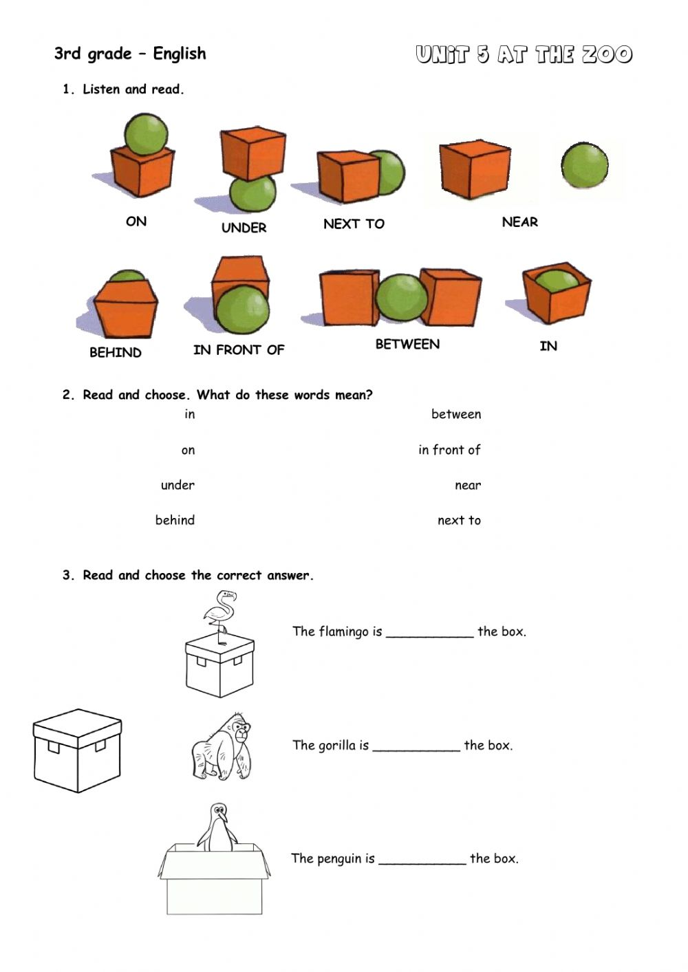 hight resolution of Prepositions online exercise for Grade 3