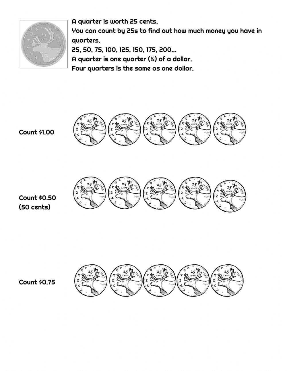 medium resolution of Canadian Money Count and Tick worksheet
