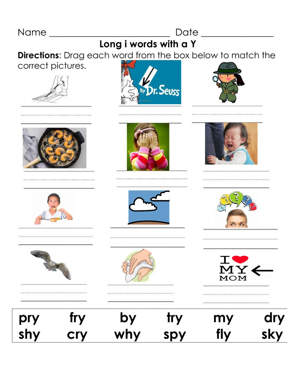 Words With Y As A Vowel : words, vowel, Vowel, Words, Worksheet
