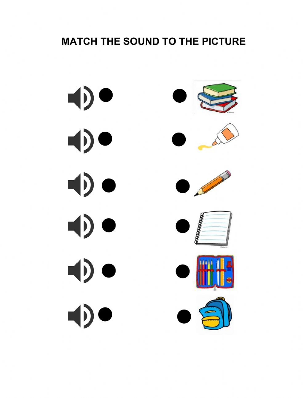 hight resolution of School objects online exercise for 1st GRADE