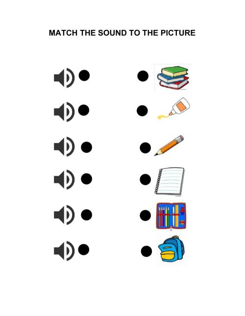 small resolution of School objects online exercise for 1st GRADE