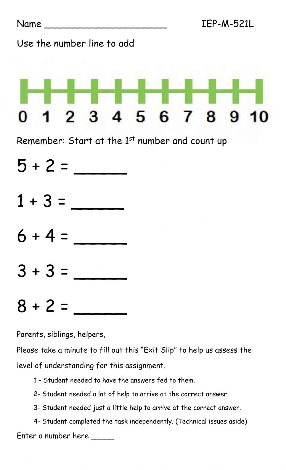 hight resolution of Number line addition interactive worksheet
