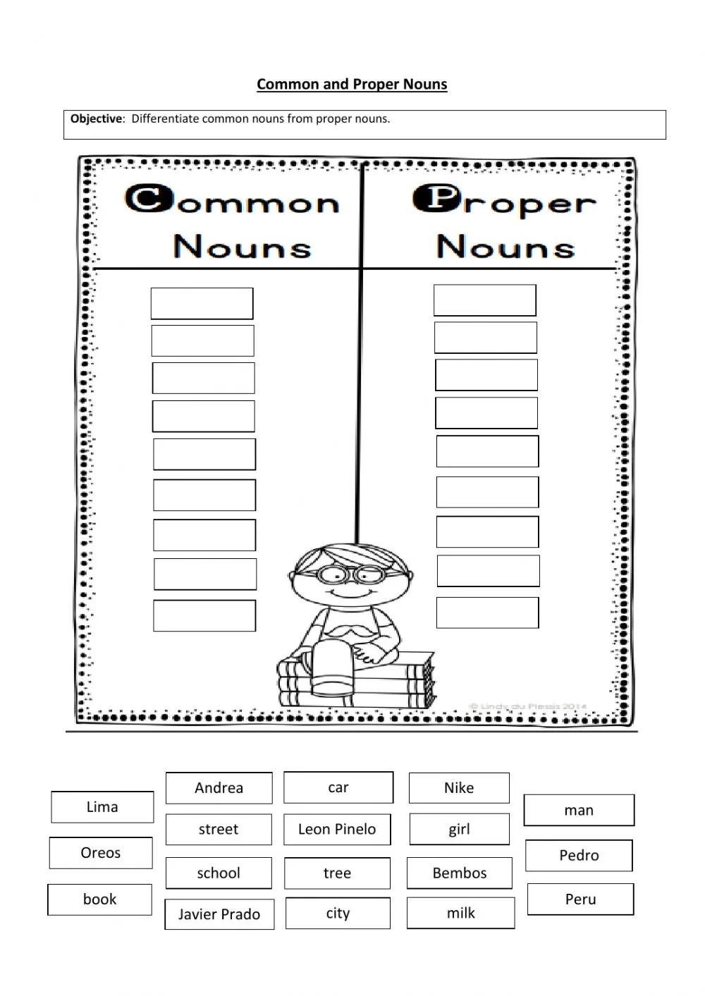 hight resolution of Common and proper nouns sorting worksheet