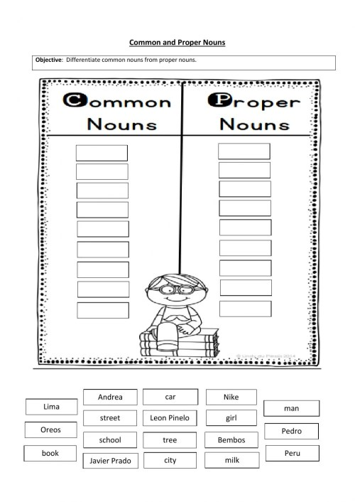 small resolution of Common and proper nouns sorting worksheet