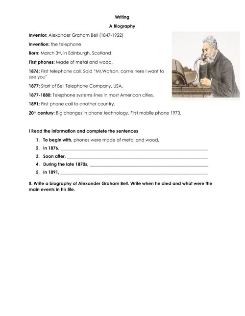 small resolution of A biography worksheet