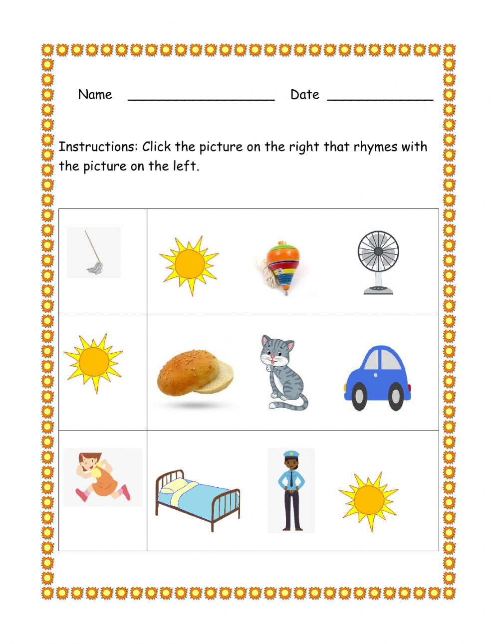 hight resolution of Rhyming Word interactive worksheet