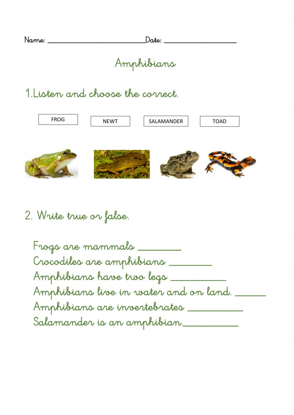 hight resolution of Amphibians online exercise