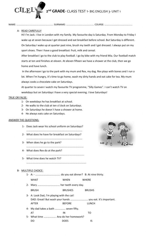 small resolution of 2nd GRADE -Class test Unit 1- CILEL worksheet
