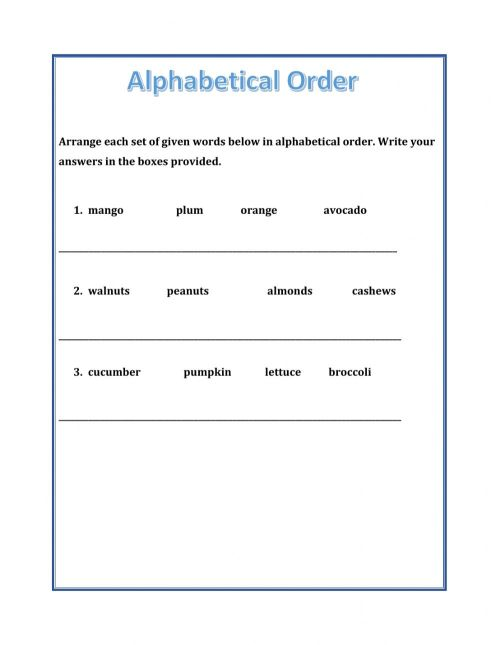 small resolution of Alphabetical Order worksheet