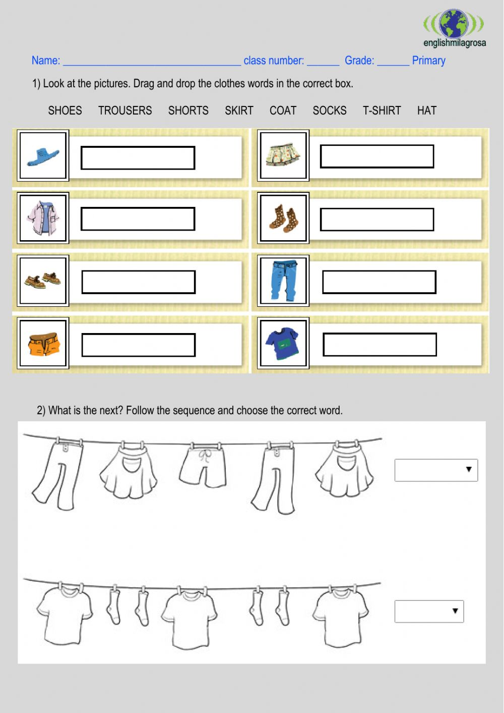hight resolution of 1st CLOTHES worksheet