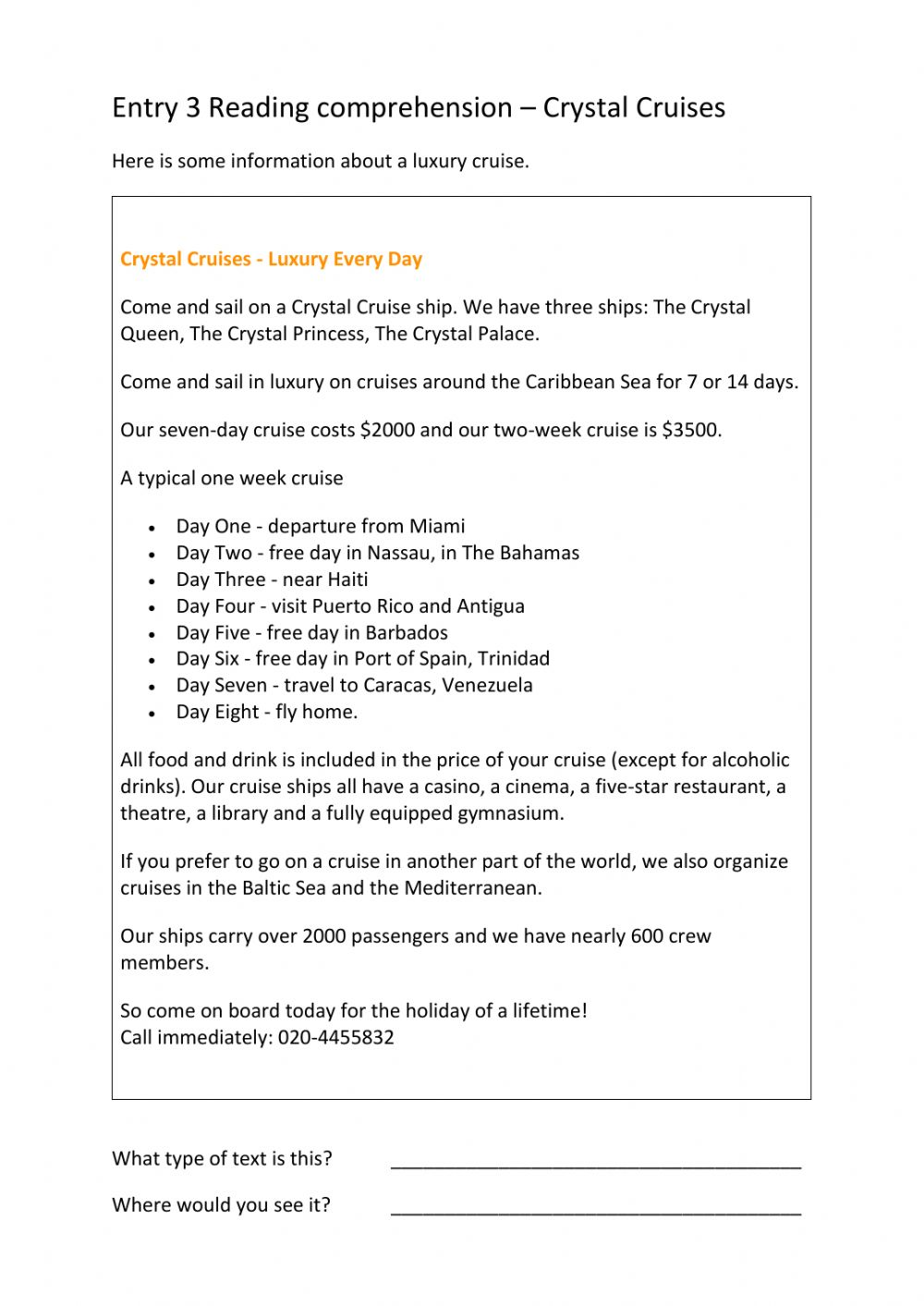 hight resolution of ESOL Entry 3 Reading Comp - Crystal cruises worksheet