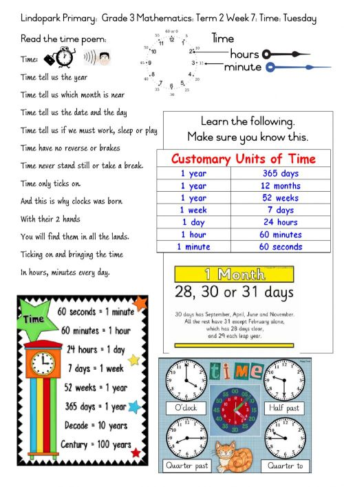 small resolution of Grade 3 Term 2 Week 7 Mathamtics-Time: Tuesday worksheet