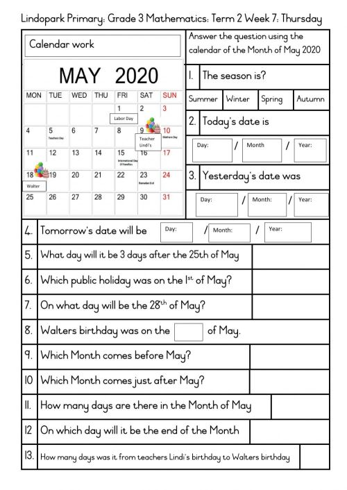 small resolution of Grade 3 Term 2 Week 7 Mathamtics: Calendar Time: Thursday worksheet