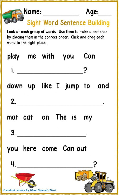 small resolution of Sight Word Sentence Building worksheet