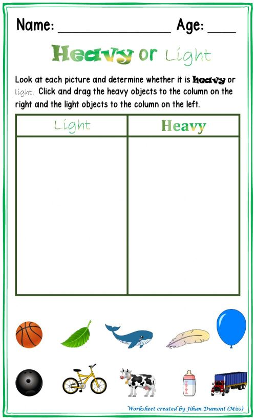 small resolution of Heavy or Light worksheet