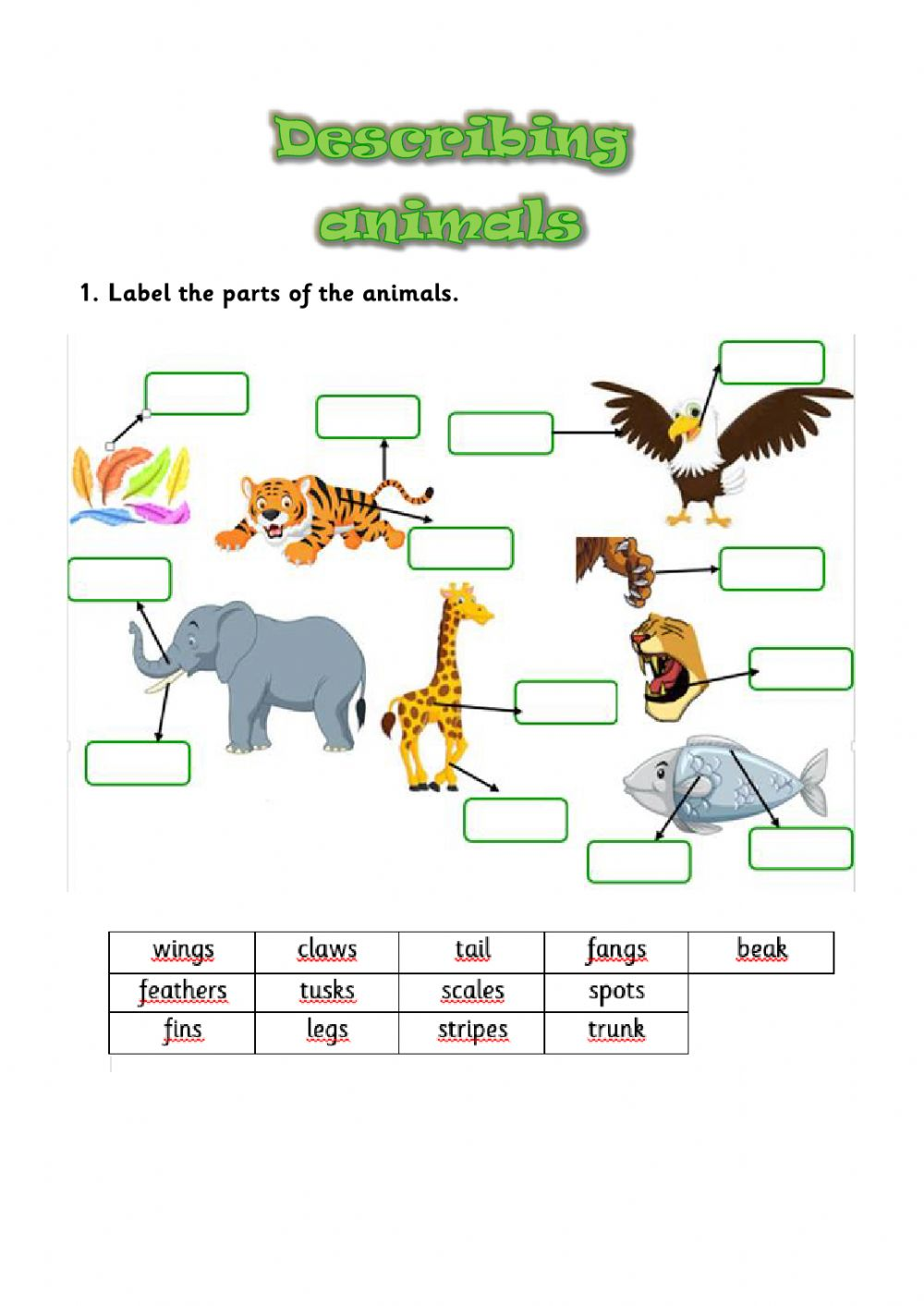 hight resolution of Describing animals interactive activity for GRADES 2 AND 3
