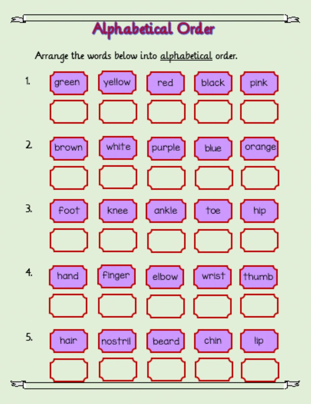 hight resolution of Alphabetical Order 2 worksheet
