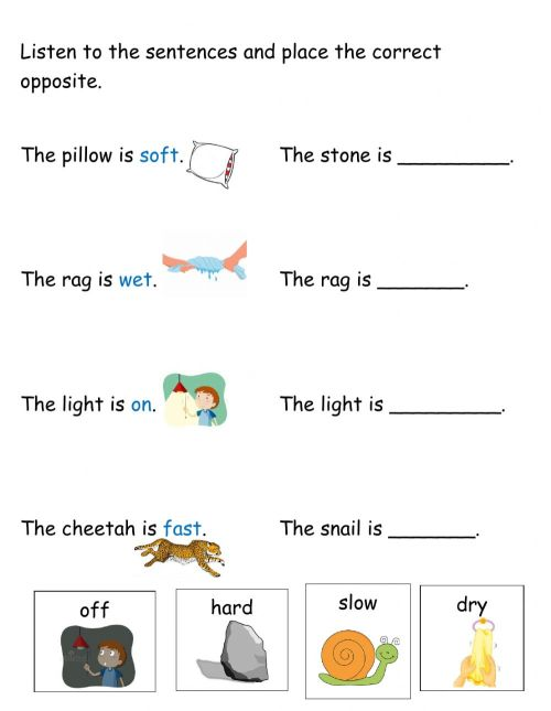 small resolution of Opposites worksheet for 1st-2nd year infants