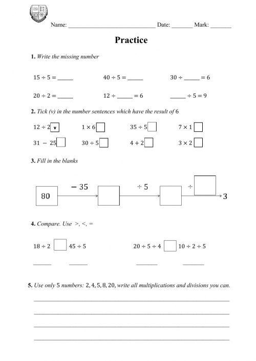 small resolution of Practice on class: 5 as a divisor worksheet