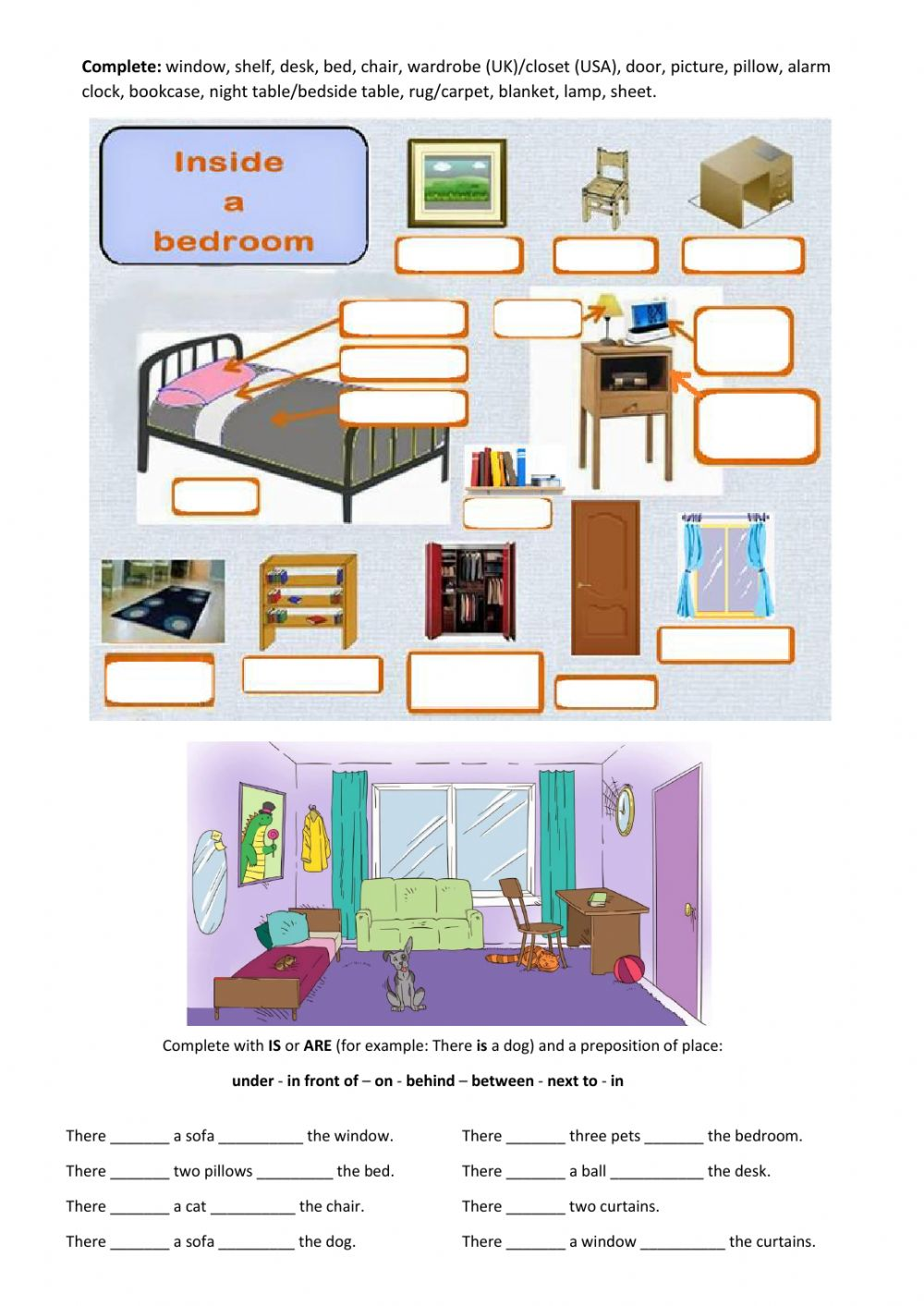 Bedroom Furniture Prepositions Of Place Interactive Worksheet