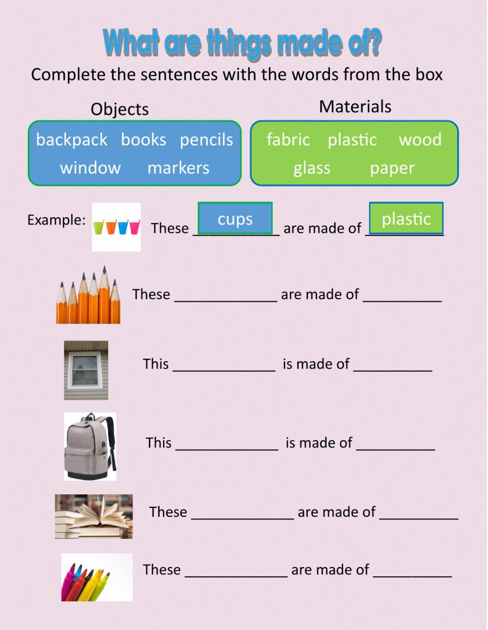 hight resolution of What are things made of? worksheet
