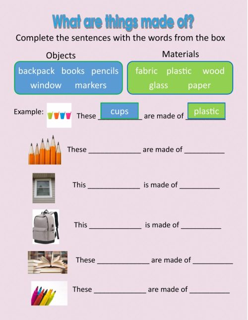small resolution of What are things made of? worksheet