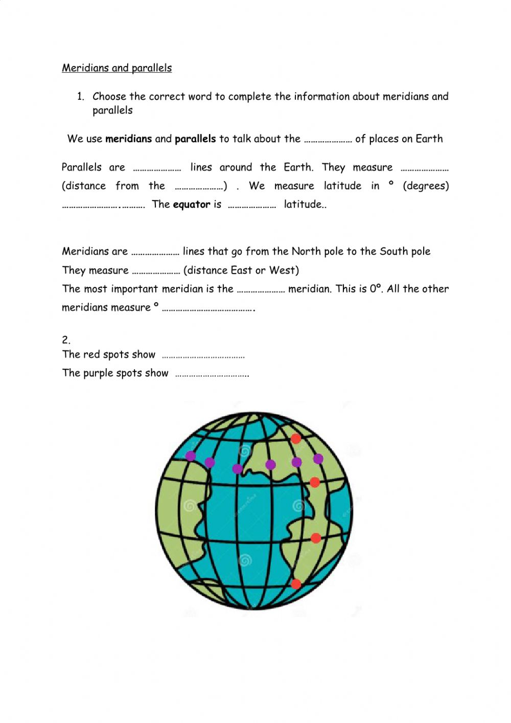 hight resolution of Parallels and meridians worksheet
